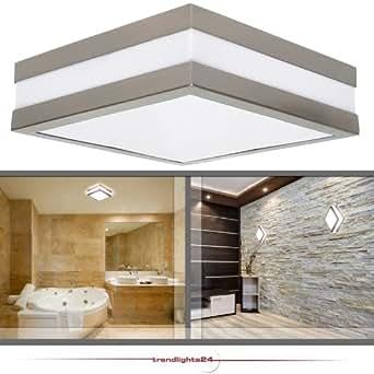 Wandleuchte Deckenleuchte SAVONA eckig / quadratisch IP44 LED E27 230V für bis zu 2x18 Watt; für Wohnraum, Bad, Flur, Wand, Decke; ohne Leuchtmittel