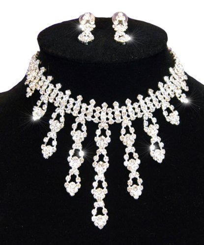 Wedding Bridal Silver Stunning Sparkling Crystal Necklace Earrings Dangling Set with PreciousBags dust Bag
