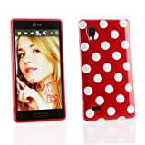 Kit Me Out UK IMD TPU Gel Case + Screen Protector with MicroFibre Cleaning Cloth for LG Optimus L9 P760 - Red / White Polka Dots