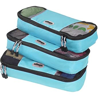eBags Slim Packing Cubes - 3pc Set (Aquamarine)