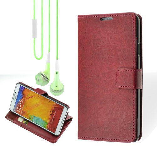 Premium Wallet Pu Leather Stand Case For Samsung Galaxy Note 3 - Rose + Vangoddy Headphone With Mic ,Green