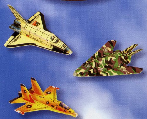 Set of 3 Aircraft Foam Gliders Space Shuttle, Interceptor & Stealth - 1