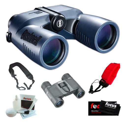 Bushnell 137570 Marine Blue Porro 7X50Mm With Digital Compass Binocular + Bushnell Powerview 8X21 Folding Roof Prism Binoculars + Accessory Kit