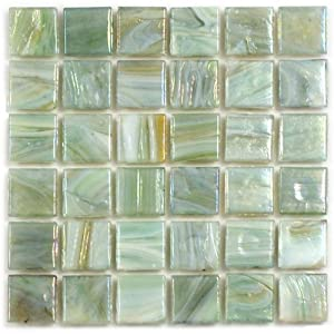 12 x 12 in waterlily recycled glass green mosaic tile - Recycled glass tiles bathroom ...