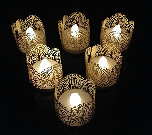 WhitePavo Flickering LED TeaLight Candles - White Flame with Biege Mango Designer Paper Votive Wraps