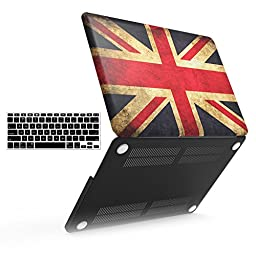 iBenzer - 2 in 1 Soft-Skin Plastic Hard Case Cover & Keyboard Cover for Macbook Pro 15.4\'\' with Retina Display NO CD-ROM (A1398), UK Flag MMP15R-UKFL+1