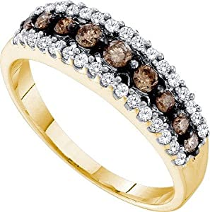14k Yellow Gold Ring Band 0.50ct Champagne Diamonds Channel At Center & Surrounded w/ Tiny White Diamonds Fine Clarity - Incl. ClassicDiamondHouse Free Gift Box & Cleaning Cloth