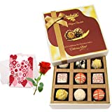 Valentine Chocholik's Luxury Chocolates - Perfect Gift For Your Special One With Love Card And Rose