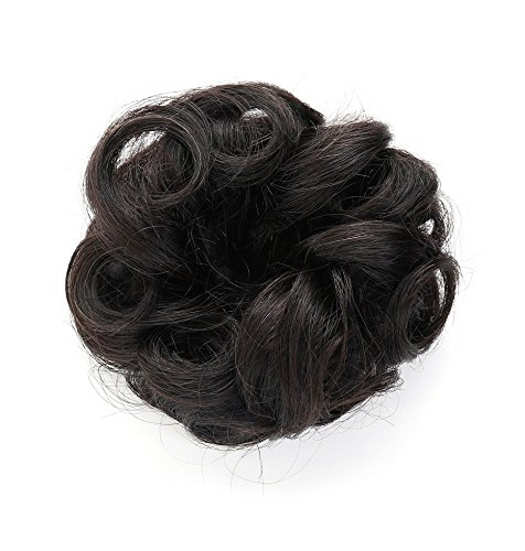 Rosette Hair 100% Human Hair Scrunchie Curly Messy Bun Human Hair Extensions Donut Hair Chignons Up Do Hair piece (Black) (Clip On Hair Bun compare prices)
