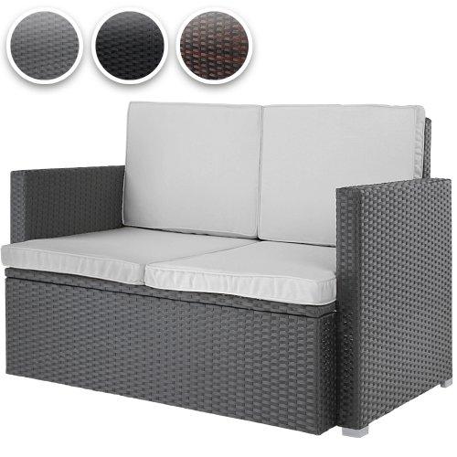 Miadomodo-Polyrattan-Lounge-Sofa-2-Seater-Outdoor-Garden-Patio-Wicker-Rattan-Furniture-Grey