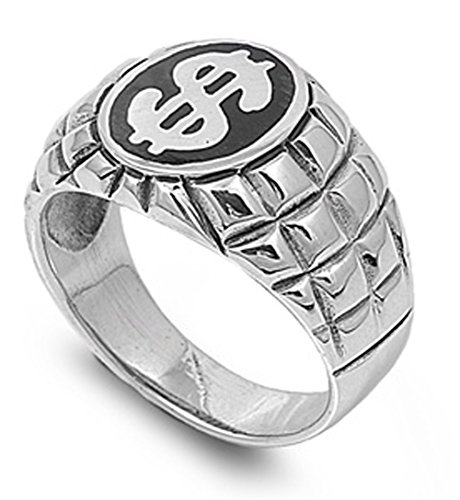 Sterling Silver Men'S Dollar Sign Money Ring Heavy Comfort Fit 925 Band New 17Mm Size 10 Valentines Day Gift
