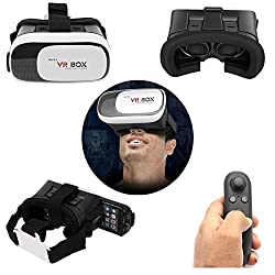 DMG VR Box 2nd Generation Enhanced Version Virtual Augmented Reality Cardboard 3D Video Glasses Headset + Virtual Gaming Controller Compatible with 4.7-6 Inch Android, [iPhone 6, iPhone 6s Plus, Samsung Galaxy Note 5, S6 Edge etc.]