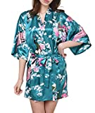 WML Women's Kimono Robes Peacock and Blossoms Silk Nightwear Short Style