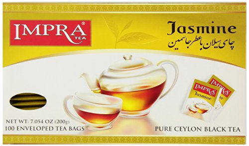 Impra Pure Ceylon Black Tea, Jasmine, 100-Count