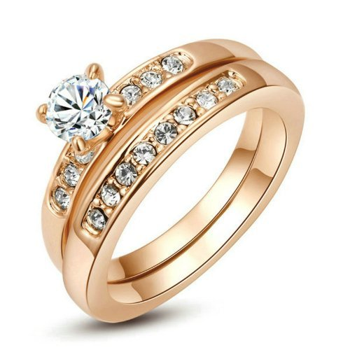 Yours Nickel Free Rose Gold Plated 3mm Band 5mm Cubic Zirconia Engagement 2 in 1 Ring (6)