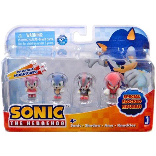 """Sonic the Hedgehog Collectible Sonic, Shadow, Amy, Knuckles Flocked 1"""" Mini Figure Multi Pack"""