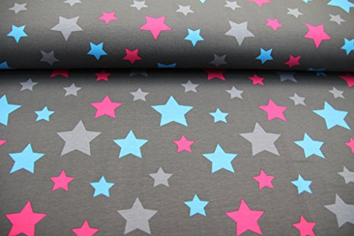 stoff-50cmx140cm-kinder-beste-jersey-qualitat-jersey-sterne-pink-blau-grau-auf-dunkelgrau