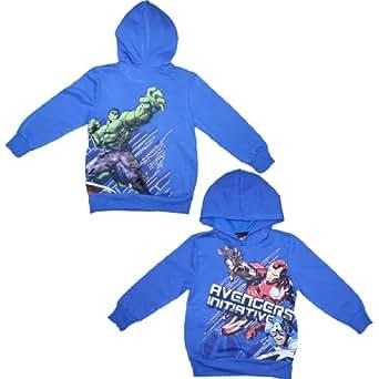 The Avengers (Iron Man, Hulk, Captain America) Boys Warm Pullover Hoodie XS Blue