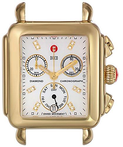 Michele Deco de la perla de la madre de la firma 18kt de color amarillo de oro y plata reloj MWW06P0001