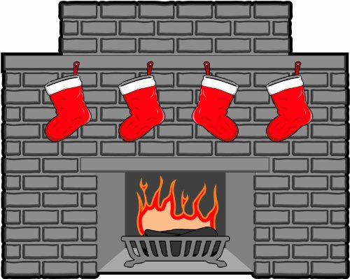 Christmas Wall Decals - Christmas Fireplace - 12 inch Removable Graphic