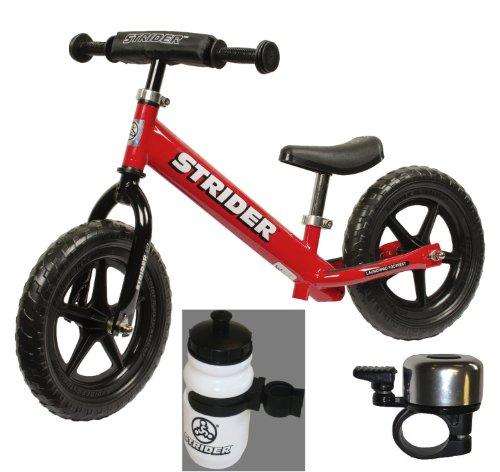 Strider ST-3 No-pedal Balance Bike +BONUS-Water Bottle and Bell (Bundle) (Red)