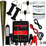 Complete SRB06 12V Battery Operated Energiser Kit, 25 Insulators, Gate Handles, Anchors, Fence Tester, Connection Cables & 200m Polywire Included