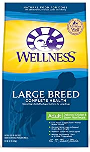 Wellness Complete Health Natural Dry Dog Food, Large Breed Chicken & Rice, 15-Pound Bag