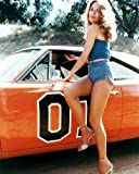 Catherine Bach as Daisy Duke in The Dukes of Hazzard posing by General Lee 16x20 Poster