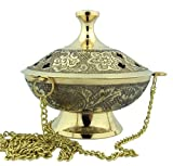 Charcoal Incense Burner Gold Tone over Brass Hanging Censer with Chain