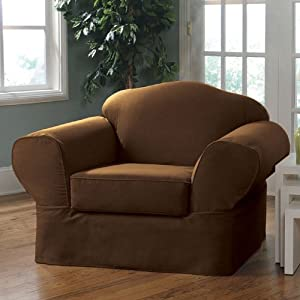 Sure Fit Twill Supreme 2 Piece Chair Slipcover, Coffee