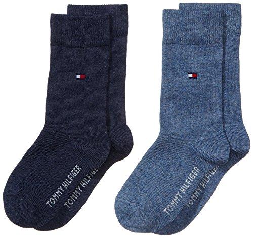Tommy Hilfiger - Th Children Sock Th Basic 2P, Calze per bambini, blu(blau (jeans 356)), taglia produttore: 35-38