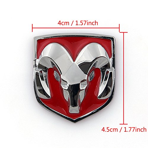 Areyourshop Red Head Grill Tailgate Emblem Badge Sticker Decal Chromed Metal for Dodge Ram 4CMX4.5CM (Dodge 100 Emblem compare prices)