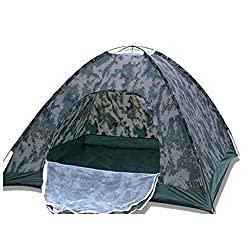 New-Alfa Mart Outdoor Camping Rainproof Waterproof Sunproof Picnic Hiking 4 Person Camouflage Tent with Carry Bag