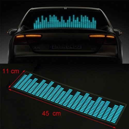 12V Sound Music Activated Car Stickers Equalizer Glow Blue 45*11CM