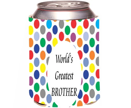 """Rikki Knight """"World'S Greatest Brother"""" Beer Can Soda Drinks Cooler Koozie, Colored Polka Dot Design front-557747"""