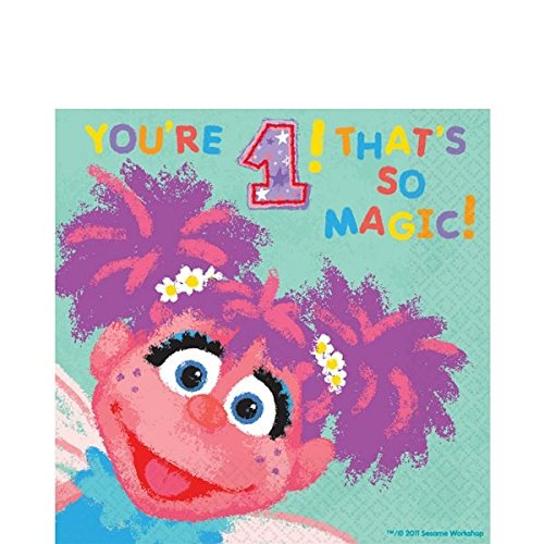 Amscan Sesame Street 1st Birthday Abby Cadabby Luncheon Napkins Party Supplies, Small, Teal
