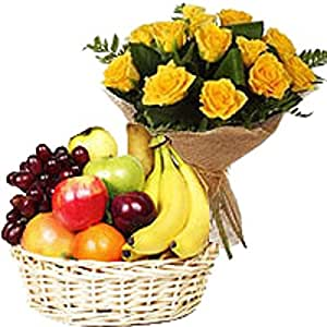 buy same day delivery gifts flower bunch fruit basket