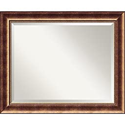 Wall Mirror Large, Manhattan Bronze Wood: Outer Size 34 x 28\