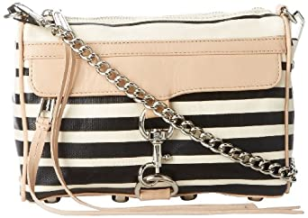 Rebecca Minkoff Mini MAC Stripe H001E720 Convertible Cross-Body Handbag,Black,One Size