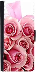 Snoogg Pink Flower Graphic Snap On Hard Back Leather + Pc Flip Cover Apple Ip...