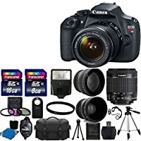 "Canon EOS Rebel T5 DSLR CMOS Digital SLR Camera and DIGIC Imaging with EF-S 18-55mm f/3.5-5.6 IS Lens + 58mm 2x Professional Lens +High Definition 58mm Wide Angle Lens + Auto Flash + 59"" Strong lightweight Tripod + UV Filter Kit With 24GB Complete Deluxe"