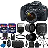 Canon EOS Rebel T5 DSLR CMOS Digital SLR Camera and DIGIC Imaging with EF-S 18-55mm f/3.5-5.6 IS Lens + 58mm 2x Professional Lens +High Definition 58mm Wide Angle Lens + Auto Flash + 59 Strong lightweight Tripod + UV Filter Kit With 24GB Complete Deluxe Accessory Bundle