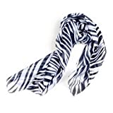 Black White Chiffon Zebra Strips Striped Women Shawl Scarves Wrap Pashmina Gift ~ Nicky's Gift