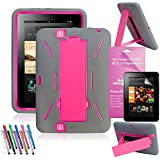 EpicGadget Shockproof Heavy Duty Rugged Case with Build In I Kickstand for Amazon Kindle Fire HD 7 Bundle with Clear Screen Protector and Universal Stylus Pen (Gray/Pink)