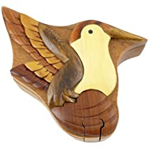 Hummingbird Handmade Carved Wood Intarsia Puzzle Box