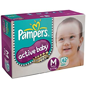 Pampers Diapers Online – Buy Pampers Active Baby Diapers @ 25% Discount for Rs. 649