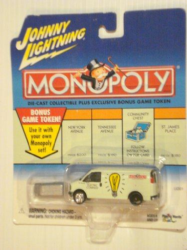 2000 Johnny Lightning Monopoly Electric Company Utility Van With Grey Colored Token