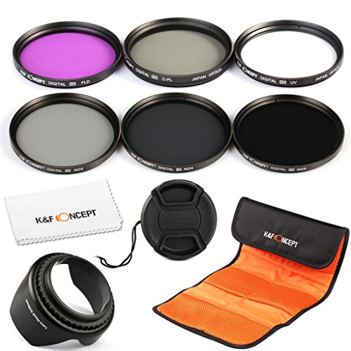 K&F Concept 77Mm Uv Cpl Fld Nd2 Nd4 Nd8 Lens Filter Kit Uv Protection Circular Polarizing Filter Neutral Density Filter Set For Canon 6D 5D Mark Ii 5D Mark Iii For Nikon D610 D700 D800 Dslr Cameras + Flower Petal Lens Hood + Center Pinch Lens Cap + Microf