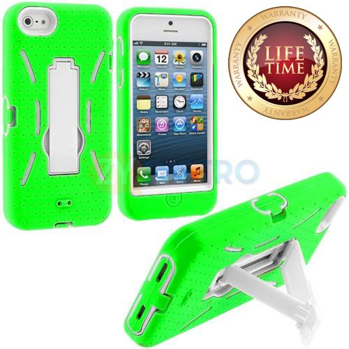 iConic (TM) Lime Green   White Ultra Hybrid (Full Body Urban Armor Gear) Kickstand Commuter Case for NEW Apple iPhone 5S Touch and iPhone 5 (5G) 5th Generation Phone (Sealed in iConic Brand Packaging Only)