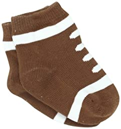 Mud Pie Newborn Baby-Boys Football Socks, Brown/White, 0-12 Months